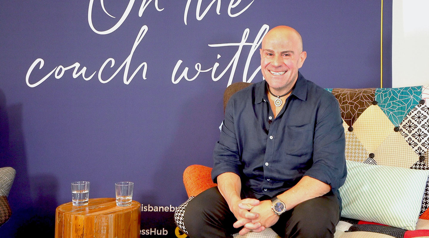 Phillip Di Bella On the couch at the Brisbane Business Hub